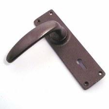 Aston Door Handles Lock Plate Rustic Solid Bronze