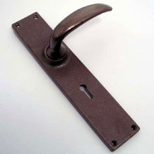 Aston Long Lock Plate Door Handles Rustic Solid Bronze