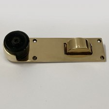 Aston Door Stop & Holder Floor Mounted Polished Brass Unlacquered