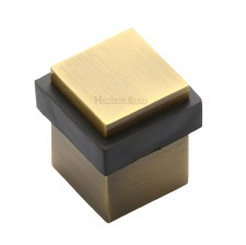Heritage Floor Mounted Square Door Stop V1089 Antique Brass