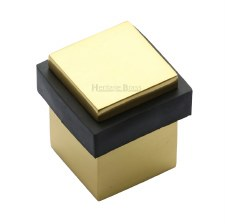 Heritage Floor Mounted Square Door Stop V1089 Polished Brass