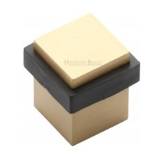Heritage Floor Mounted Square Door Stop V1089 Satin Brass