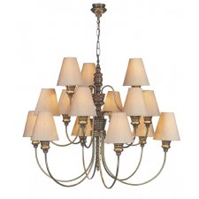 David Hunt DOR1500 Doreen 15 Light Chandelier Bronzed with Silk Shades