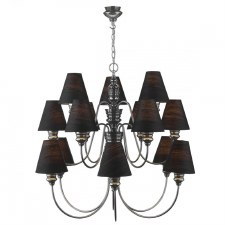 David Hunt DOR1599 Doreen 15 Light Chandelier Pewter with Silk Shades