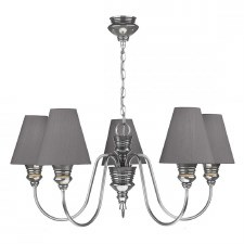 David Hunt DOR0599 Doreen 5 Light Chandelier Pewter with Silk Shades