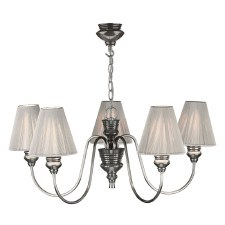 David Hunt DOR0567 Doreen 5 Light Chandelier Pewter with Silver String Shades