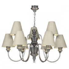 David Hunt DOR1399 Doreen 9 Light Chandelier Pewter with Silk Shades