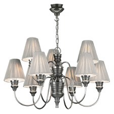 David Hunt DOR1367 Doreen 9 Light Chandelier Pewter with Silver String Shades