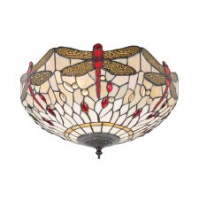 Interiors 1900 Dragonfly Beige Tiffany Medium Flush Light 70723