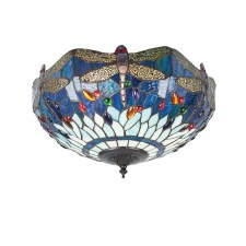 Interiors 1900 Dragonfly Blue Tiffany Medium Flush Light 70722