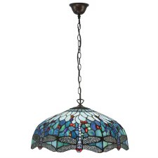 Interiors 1900 Dragonfly Blue Tiffany Large Pendant 66148