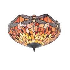 Interiors 1900 Dragonfly Flame Tiffany Medium Flush Light 70721