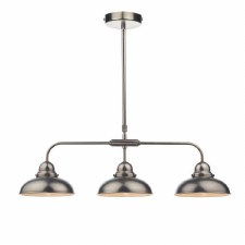 Dynamo Bar Triple Light Pendant Antique Chrome