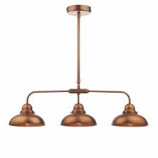 Dynamo Bar Triple Light Pendant Antique Copper
