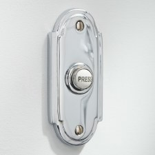 Edwardian Shaped Door Bell Push for Wind-Up Bells Polished Chrome