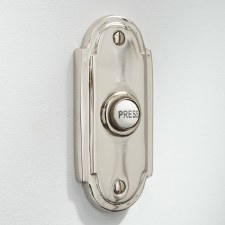 Edwardian Shaped Door Bell Push for Wind-Up Bells Polished Nickel