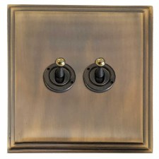 Edwardian Dolly Switch 2 Gang Antique Brass Lacquered