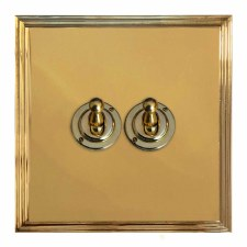 Edwardian Dolly Switch 2 Gang Polished Brass Lacquered
