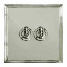 Edwardian Dolly Switch 2 Gang Polished Nickel