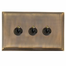 Edwardian Dolly Switch 3 Gang Antique Brass Lacquered