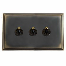 Edwardian Dolly Switch 3 Gang Dark Antique Relief