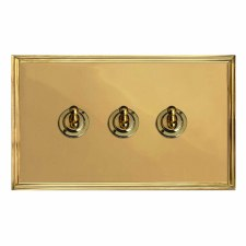Edwardian Dolly Switch 3 Gang Polished Brass Lacquered
