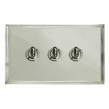 Edwardian Dolly Switch 3 Gang Polished Nickel
