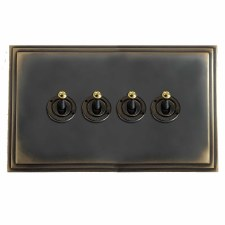 Edwardian Dolly Switch 4 Gang Dark Antique Relief