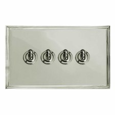 Edwardian Dolly Switch 4 Gang Polished Nickel