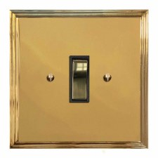 Edwardian Rocker Light Switch 1 Gang Polished Brass Lacquered & Black Trim