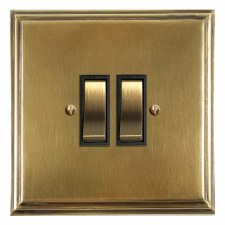 Edwardian Rocker Light Switch 2 Gang Antique Satin Brass