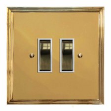 Edwardian Rocker Light Switch 2 Gang Polished Brass Lacquered & White Trim
