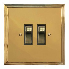Edwardian Rocker Light Switch 2 Gang Polished Brass Lacquered & Black Trim