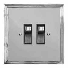 Edwardian Rocker Light Switch 2 Gang Polished Chrome & Black Trim