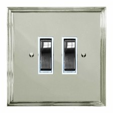 Edwardian Rocker Light Switch 2 Gang Polished Nickel