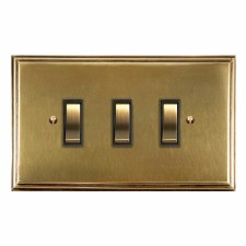 Edwardian Rocker Light Switch 3 Gang Antique Satin Brass