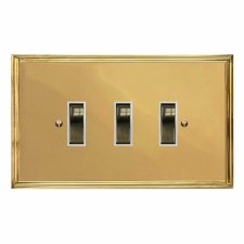 Edwardian Rocker Light Switch 3 Gang Polished Brass Lacquered & White Trim