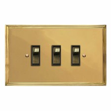 Edwardian Rocker Light Switch 3 Gang Polished Brass Lacquered & Black Trim