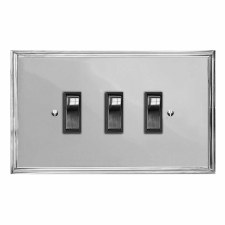 Edwardian Rocker Light Switch 3 Gang Polished Chrome & Black Trim