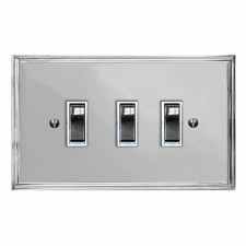 Edwardian Rocker Light Switch 3 Gang Polished Chrome & White Trim