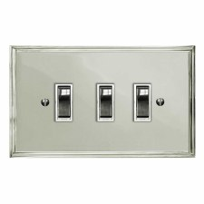 Edwardian Rocker Switch 3 Gang Polished Nickel
