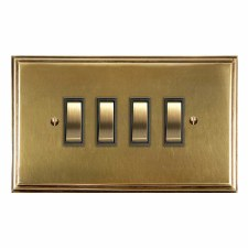 Edwardian Rocker Light Switch 4 Gang Antique Satin Brass