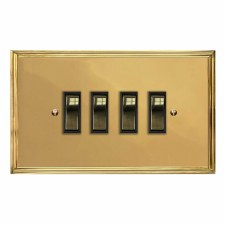 Edwardian Rocker Light Switch 4 Gang Polished Brass Lacquered & Black Trim