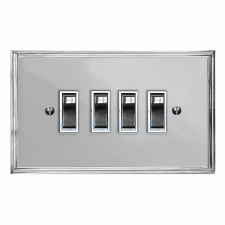 Edwardian Rocker Light Switch 4 Gang Polished Chrome & White Trim