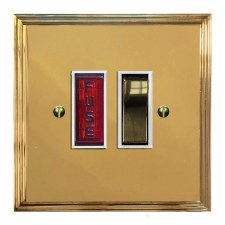 Edwardian Switched Fused Spur Illuminated Polished Brass Lacquered & White Trim
