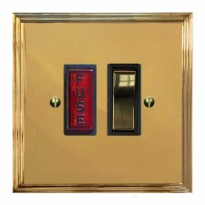Edwardian Switched Fused Spur Illuminated Polished Brass Lacquered & Black Trim