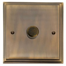 Edwardian Dimmer Switch 1 Gang Antique Brass Lacquered