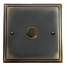 Edwardian Dimmer Switch 1 Gang Dark Antique Relief