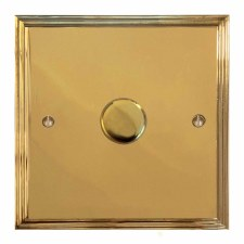 Edwardian Dimmer Switch 1 Gang Polished Brass Unlacquered