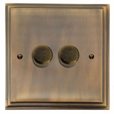 Edwardian Dimmer Switch 2 Gang Antique Brass Lacquered